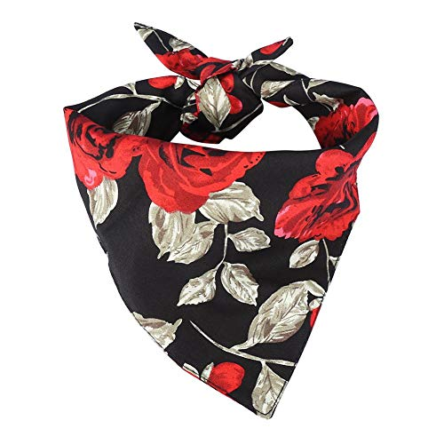 Duokon Hunde-Halstuch quadratische Lätzchen Schal Kragen Verband Halstuch Romantische Rose Kopftücher für Hunde(Schwarz) - Tragen Große Schal