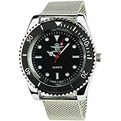 MICHAEL JOHN -Men's Watch Silver Quartz Black case Steel Analogue Display Band Steel