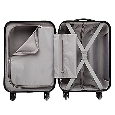 Bagage Cabin Max Tuscany 2.0 Ultra Léger 2.4kg ABS Coque Solide Voyage Transport Bagage Cabine Bagage à Main Valise à 4 Roulettes, Autorisée par Ryanair, Easyjet, et Bien d'Autres