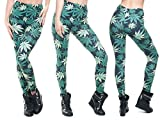Alsino Leggings Damen Bedruckt Sexy Leggins Ladies mit Print Look Motiv Muster Stretch Legins Hose, Variante wählen:LEG-001 Marihuana grün