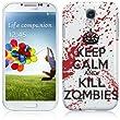 Samsung Galaxy S4 IV i9500 Hülle TPU / Gel / SilikonHülle Cover - Keep Calm and Kill Zombies Muster Schutzhülle für Samsung Galaxy S4 - Weiß und Rot