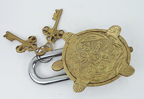 Street Craft Vorhängeschloss Messing Schildkröte, 14cm mit zwei Schlüsseln.