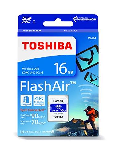 Toshiba FlashAir W-04 16GB SDHC UHS-I Clase 3 Memoria Flash - Tarjeta de Memoria (16 GB, SDHC, Clase 3, 90 MB/s, 70 MB/s, UHS-I)