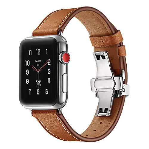 BONSTRAP Leder Armband für Apple Watch 42mm/44mm Serie 4 3 2 1 Braun -