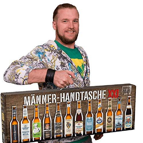 Männerhandtasche XXL von Kalea (die Geschenkidee mit 12 x 0,33l. Bier Spezialitäten von Privatbrauereien und einem Informationsheft zu Bier)