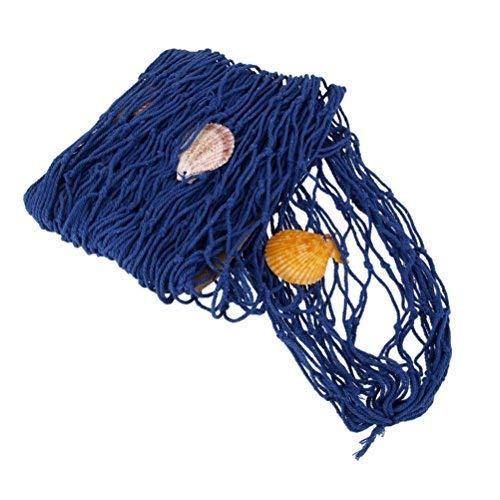 winomo-Fischernetz mit Gehäuseschalen Wanddekoration zum Aufhängen-Thema Strand blau mediterranen Stil (Strand-themen-stoff)