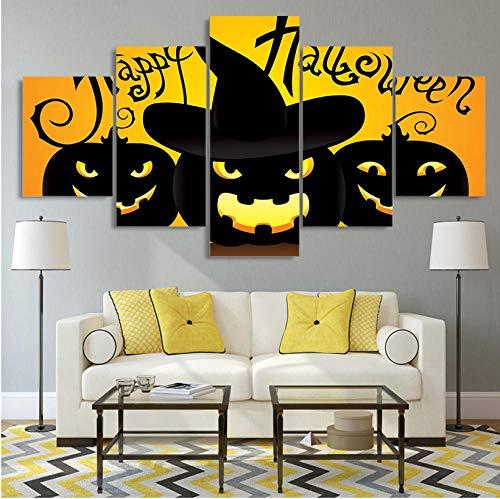 rucke Wohnzimmer Modulare Bilder Malerei HD Gedruckt Leinwand 5 Panel Kürbis Laterne Halloween Arbeit Wandkunst Poster Wohnkultur(Rahmen) ()