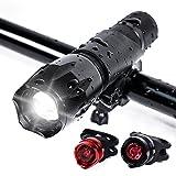 Horsky Fahrradlichter-Set, wasserdicht, vorne und hinten, helle LED-Scheinwerfer-Taschenlampe, mit 2900-Lumen-Rücklichtern, schwarz und rot, mit 2x 18650-Lithium-Batterien