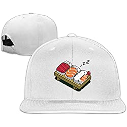 Kawaii Sushi de dormir adultos Fashion gorra ajustable, Blanco
