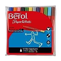 Berol Colour Broad Pen 1.7 mm Nib, Assorted Colours, Pack of 12