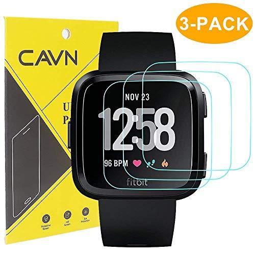 CAVN 3 Packs Compatible avec Fitbit Versa Protection d'écran (Pas pour Fitbit Versa 2) , Versa Verre Trempé Protecteur [9H Dureté] [Cristal Clair] [Anti-Scratch] [No-Bubble]
