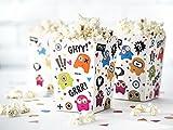 Lustige Monster Popcorn Boxen Tüten Kindergeburtstag 6 Stück mit Palandi® Sticker