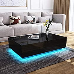 Modern RGB LED Light Coffee Tea Table with Storage Drawers & Shelvs High Gloss Living Room Furniture (Black, 4 Drawers, 95 * 60 * 31cm)