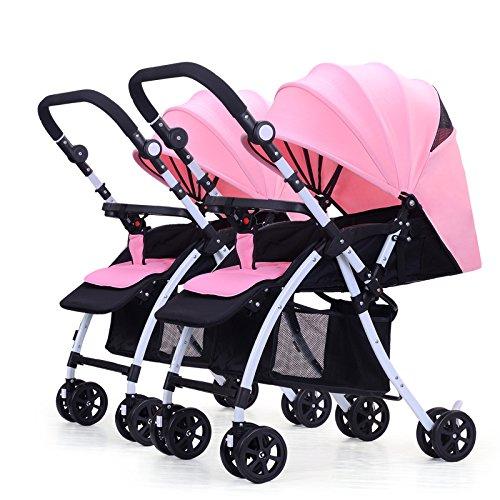Qxmei passeggino gemellare per neonati e bambini uno accanto all'altro utilizzabile fin dalla nascita con navicella sottile piegatura veloce,s