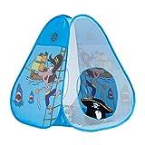 Relaxdays Spielzelt für Jungen, Pop Up Kinderzelt mit Piraten, ab 3 Jahre, für Drinnen und Draußen, HxB 100x95 cm, blau