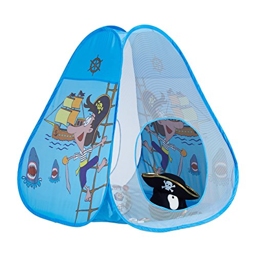 Relaxdays tenda gioco casetta per bambini pop up con pirati da 3 anni tunnel da interno esterno hxl 100x95 cm blu