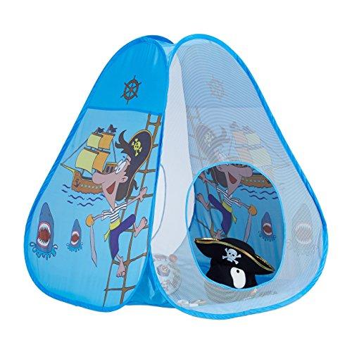 Relaxdays 10022452 tenda gioco casetta per bambini pop up con pirati da 3 anni da interno & esterno hxl 100x95 cm blu