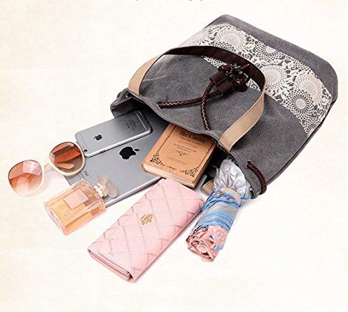 Dnfc Borsa Da Donna Borsa A Tracolla In Tela Borsa A Tracolla Borsa Da Donna Shopper Bella Borsa A Manico Vintage Sacchetto (grigio) Nero