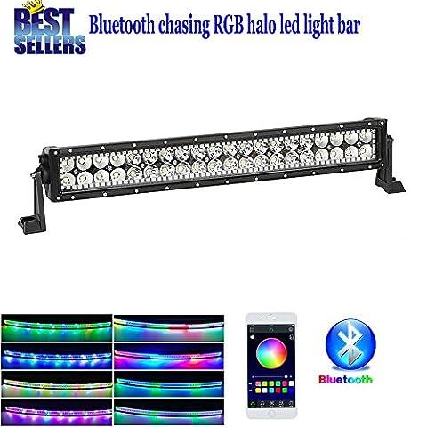 Colorbarz® droites 55,9cm Tempêtes de sable Barre lumineuse LED RGB Halo Anneau avec Bluetooth App de faisceau de câblage pour écouter de la musique et lumières kit Off Road Lights Bluetooth LED pour camion de voiture lumières de conduite étanche