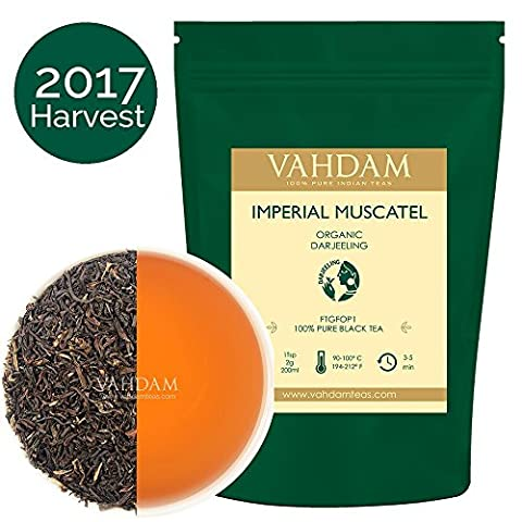 Imperial Muscatel Darjeeling Tea Leaves (50 Cups) - Bodied, Aromatic & Rich, 2017 PRIME Second Flush Harvest, 100% Pure Unblended Darjeeling Tea, Grown & Shipped Direct from Source in India - Foglia Maker