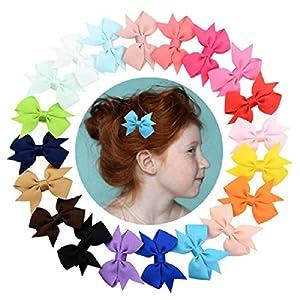 KayMayn Baby Mädchen Band Haarschleife Boutique Kinder Krokodilklemme Ripsband Haarspangen, Kleinkinder Bling Bowknot Haarschmuck (zufällig 20 Farben