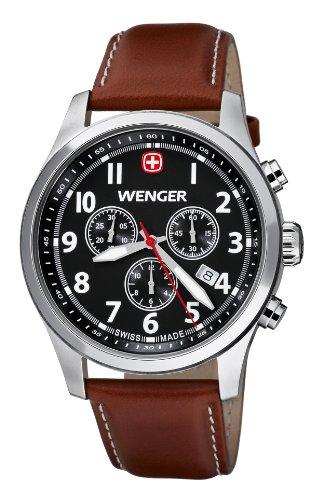 Wenger Terragraph Chrono 01.5431.102 - Reloj cronógrafo de cuarzo para hombre, correa de cuero color marrón (cronómetro, agujas luminiscentes)