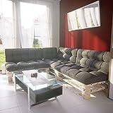 MSS® Palettenkissen 7er Set Palettenpolster Extra Dick Sitzkissen + Rückenkissen + Seitenkissen Euro Palettenauflage Gartenlounge in Anthrazit Struktur
