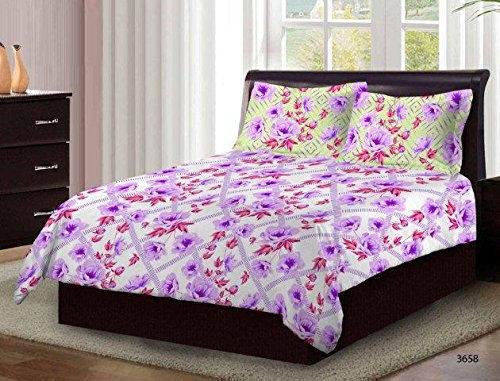 Bombay Dyeing Cardinal 100% Cotton Double Bedsheet with 2 Pillow Covers- With Beauthiful Floral Printed Design White And Blue Color TC-104  available at amazon for Rs.699