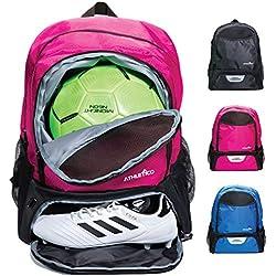 Athletico - Bolsa de deporte para jóvenes, para fútbol, baloncesto, voleibol y fútbol, para niños y jóvenes, incluye un compartimento separado para pelota y zapatillas, Rosado