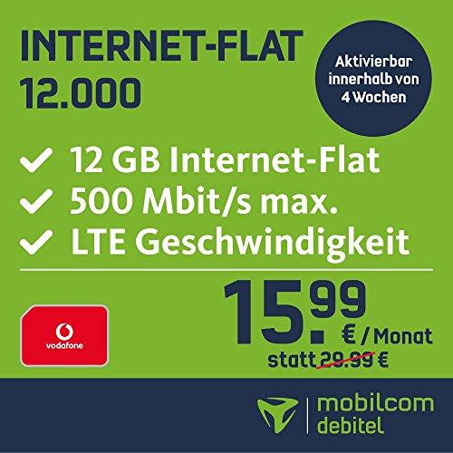 mobilcom-debitel Internet-Flat 12.000 im Vodafone-Netz (15,99 EUR monatlich, 24 Monate Laufzeit, 12 GB Internet-Flat, LTE mit max. 500 MBit/s, EU-Roaming-Flat)