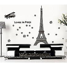 ufengke® El Amor en La Torre Eiffel de París Pegatinas de Pared, Sala de Estar Dormitorio Removible Etiquetas de La Pared / Murales