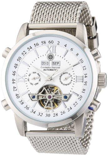 Constantin Durmont Herren-Armbanduhr XL Calendar Analog Automatik Edelstahl CD-CALE-AT-STM2-STST-WH