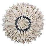 KINGROSE Handgefertigt 3D Sonne Blumen Runden Wolle Dekorative Kissen Zuhause Bett Wohnzimmer Sofa Couch Stuhl Auto Geschenke Dekorative Kissenbezüge mit Füllstoff 13 Zoll / 33 cm Cremefarben Weiß