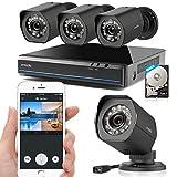 DXP Zmodo 720P HD Videoüberwachung Set Überwachungssystem mit 4 Indoor / Outdoor Nachtsicht Überwachungskameras, 4CH 720P PoE NVR, 500GB HDD Smartphone QR-Code Scannen ZM-SS714 -500GB