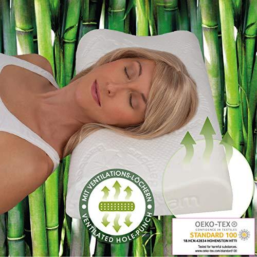 daydream Orthopädisches HWS Nackenstützkissen aus Natur-Latex + Lüftungskanäle (P-17500) Bambus-Bezug | Kissen | Kopfkissen | Schlafkissen | Bettkissen | Nackenkissen | 60 x 40 x 7,5/9,5 | Testsieger