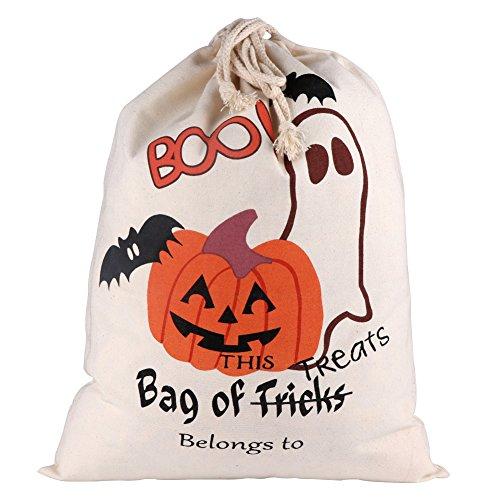 Kostüm Diy Boo (OurWarm Halloween Trick oder Treat Taschen für Kinder Kostüme Halloween Party Taschen Ghost Bat Kürbis 17 x 14)