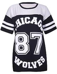 Femmes Chicago Loups 87 Universitaire Imprimé Rayures Rond Encolure Ronde Maille femmes Top T-Shirt manches courtes