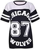 Purple Hanger - T Shirt Femme Motif Chicago Wolves 87 Col Rond Manches Courtes