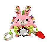 liketo Baby Soft Pink Kaninchen Rassel Plüsch Sensory Activity Toy Blau Bär Boy Toys 15,2x 15,2cm–Stofftier für Neugeborene Geschenk Kinderbett Spielzeug