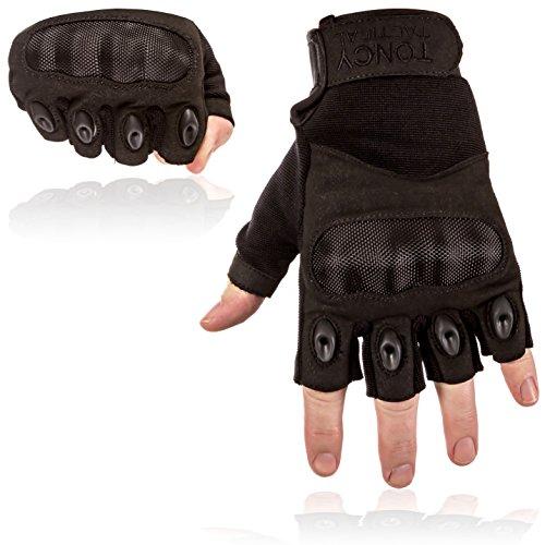 Taktische Handschuhe – Fingerlose / Halbfinger Knöchel Schuss Motorrad Polizei Airsoft Swat Militär Überfall taktische Ausrüstung. 1 Paar taktische Handschuhe von Toncy Tactical (schwarz, (Motorrad Fingerlose Handschuhe Schwarze)