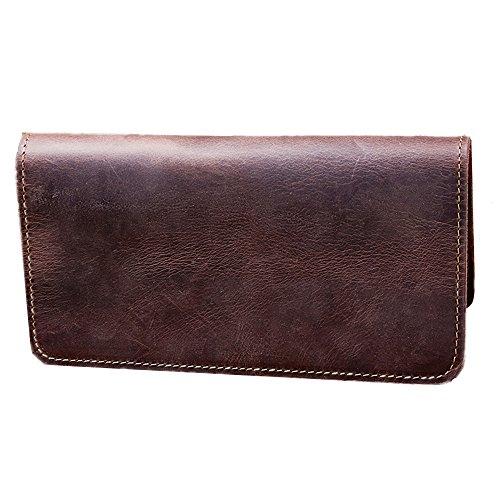 Herrengeldbörse Mann lange Leder Brieftasche vielseitige große Kapazität junge Männer Freizeit Geldbörse und eine Handtasche für Business-Party und Reisen Kreditkarteninhaber Münzfach Geldbörse