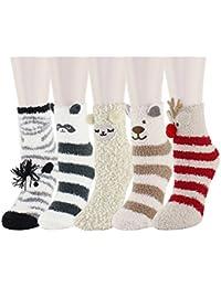 Happypop Women Ladies Girls Slipper Socks Cute Animals Fluffy Fuzzy Stripe Crew Winter Warm Socks Thermal Socks
