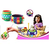 KISMIS Imaginative Arts Pottery Wheel Game With Colours & Stencils, Learning & Creative Educational Game Toy Clay & Dough, Multi Colour