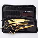 Coupe De Cheveux Ciseaux Set, Professionnel Salon De Coiffure Salon De Coiffure Coupe De Cheveux Ciseaux Ciseaux Dilution Texturizing Set avec Étui en Cuir Noir, d'or