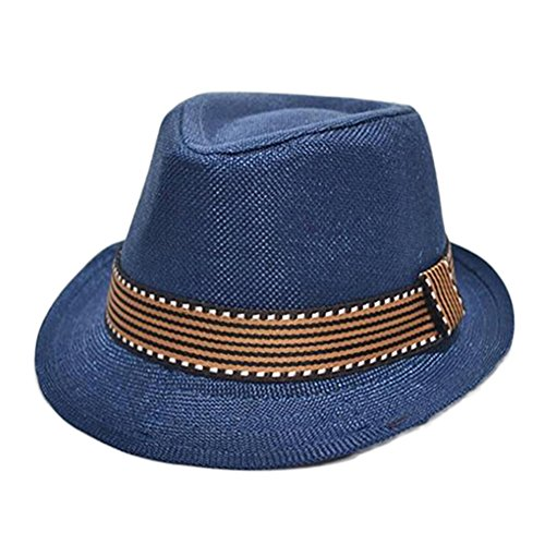 Bluelans® Kinder Strohhut Panama Fedora Hut Trilby Gangster Hut Jazzhut Sonnenhut mit Stoffband (Dunkelblau)