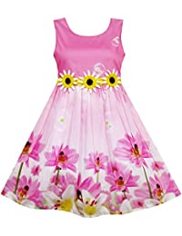 Mädchen Kleid Sonnenblume Blase Lilie Blume Garten Drucken