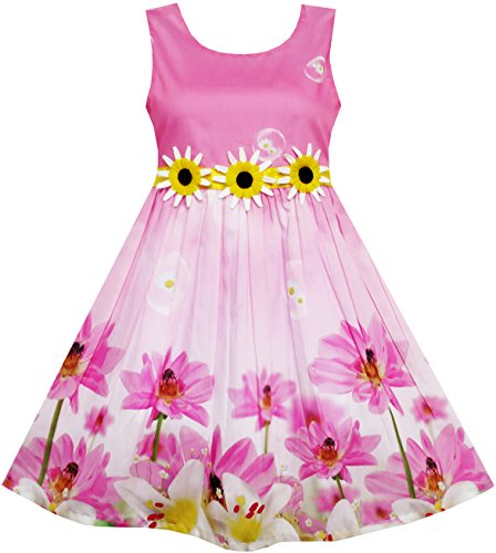 Sonnenblumen Garten (Mädchen Kleid Sonnenblume Blase Lilie Blume Garten Drucken Gr.116)
