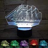 KING DO WAY 3D LED USB Veilleuse Lumière De Nuit Acrylique Lampe De Chevet Avec 7 Couleurs Décoration Pour Chambre De Bébé Enfant Cadeau De Noël Fête Anniversaire Bateau à Voile