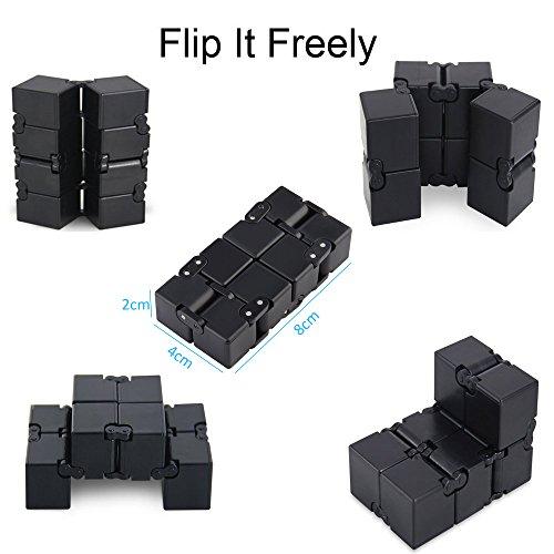 Funxim Infinity Cube Toy per Adulti e Bambini, Nuova Versione Fidget Finger Toy Sollievo dallo Stress e ansia, Killing Time Fidget Toys Cubo Infinito per Il Personale dell'ufficio (Nero) - 2