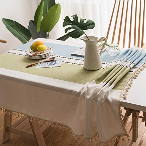 Lanqinglv Quaste Tischdecke 100x160 Abwaschbar Baumwolle und Leinen Tischtuch Grün/blau Tischdecke Rechteck Couchtisch - Tischdecke Rechteck Blau